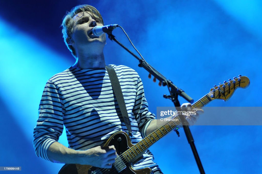 Alex Kapranos of Franz Ferdinand performs on stage during Day 3 of Bestival 2013 at Robin Hill Country Park on September 7, 2013 in Newport, Isle of Wight.