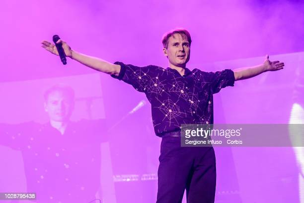 Alex Kapranos of Franz Ferdinand performs on stage during the 2018 Milano Rocks Festival at Experience Open Air Theatre on September 7 2018 in Rho...
