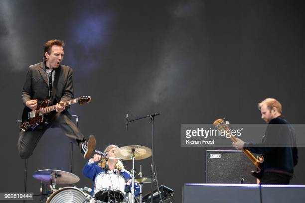 Alex Kapranos Paul Thomson and Bob Hardy of Franz Ferdinand perform at the BBC 6Music Biggest Weekend at Titanic Slipways on May 26 2018 in Belfast...