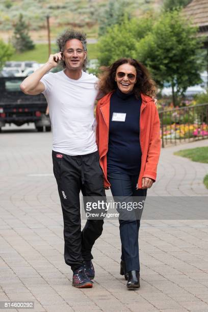 Alex Karp chief executive officer of Palantir Technologies and fashion designer Diane von Furstenberg attend the fourth day of the annual Allen...