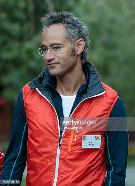 Alex Karp chief executive officer of Palantir Technologies attends the annual Allen Company Sun Valley Conference July 6 2016 in Sun Valley Idaho...