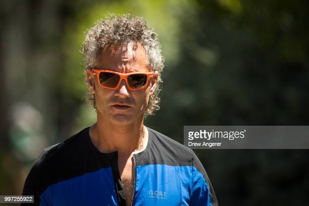 Alex Karp chief executive officer of Palantir Technologies attends the annual Allen Company Sun Valley Conference July 12 2018 in Sun Valley Idaho...