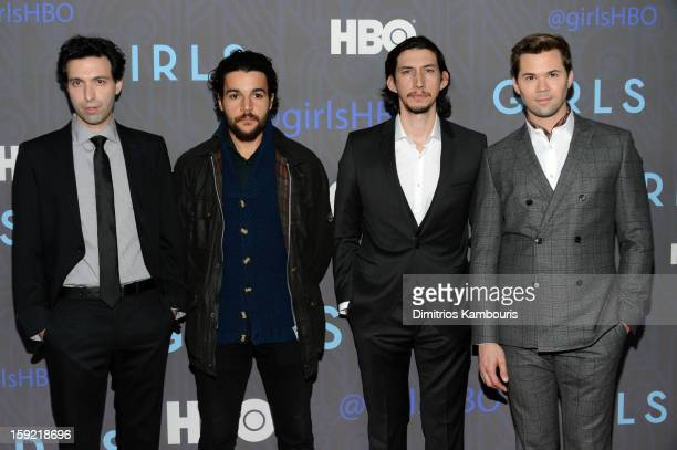 Alex Karpovsky Christopher Abbott Adam Driver and Andrew Rannells attend the Premiere Of 'Girls' Season 2 Hosted By HBO at NYU Skirball Center on...
