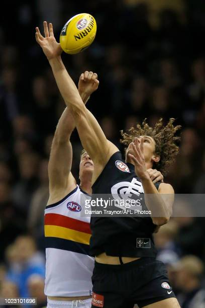 Alex Keath of the Adelaide Crows spoils Charlie Curnow of the Blues during the round 23 AFL match between the Carlton Blues and the Adelaide Crows at...