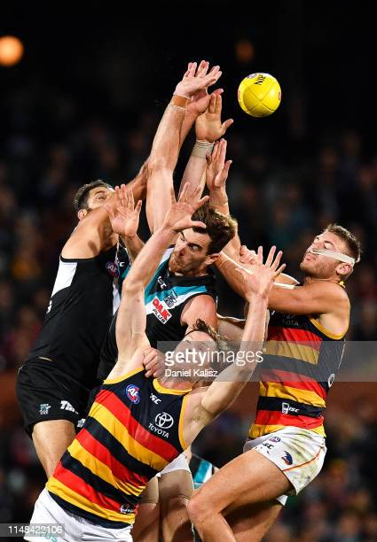 Alex Keath of the Crows competes for the ball during the round eight AFL match between the Port Adelaide Power and the Adelaide Crows at Adelaide...