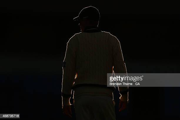 Alex Keath of Victoria looks on at sunset during day three of the Sheffield Shield match between Tasmania and Victoria at Blundstone Arena on...