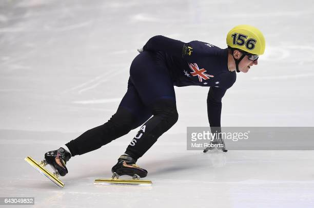 Alex Keith Bryant of Australia competes in the Men's Short Track Speed Skating 1500 metre on day three of the 2017 Sapporo Asian Winter Games at...