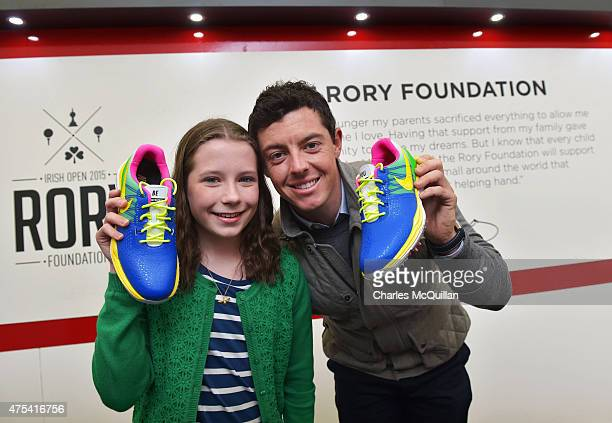 Alex Kernaghan aged 12 who is supported by Cancer Fund For Children and who designed Rory McIlroy's Nike golf shoes for the final round of the Dubai...