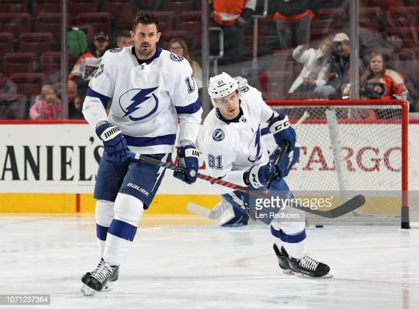 Alex Killorn and Erik Cernak of the Tampa Bay Lightning warm up against the Philadelphia Flyers on November 17 2018 at the Wells Fargo Center in...