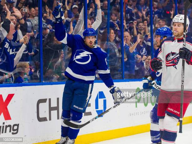 Alex Killorn of the Tampa Bay Lightning celebrates a goal against the Columbus Blue Jackets during the third period at Amalie Arena on October 13...