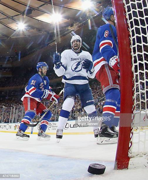 Alex Killorn of the Tampa Bay Lightning celebrates a goal against the New York Rangers in Game Five of the Eastern Conference Finals during the 2015...
