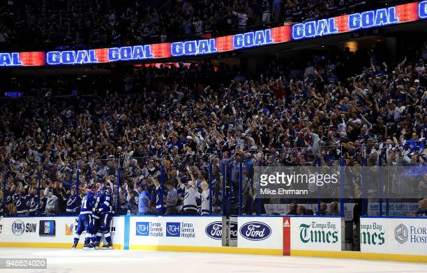 Alex Killorn of the Tampa Bay Lightning celebrates a goal during Game One of the Eastern Conference First Round against the New Jersey Devils during...