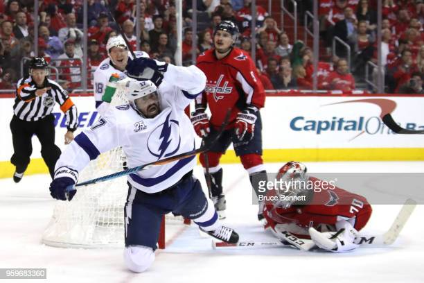 Alex Killorn of the Tampa Bay Lightning celebrates after scoring a goal on Braden Holtby of the Washington Capitals during the third period in Game...
