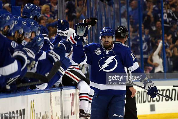 Alex Killorn of the Tampa Bay Lightning celebrates his first period goal against the Chicago Blackhawks during Game One of the 2015 NHL Stanley Cup...