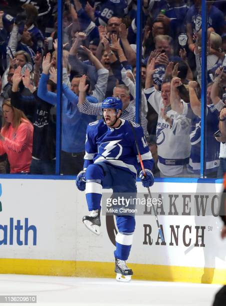 Alex Killorn of the Tampa Bay Lightning celebrates his goal against the Columbus Blue Jackets during the first period in Game One of the Eastern...