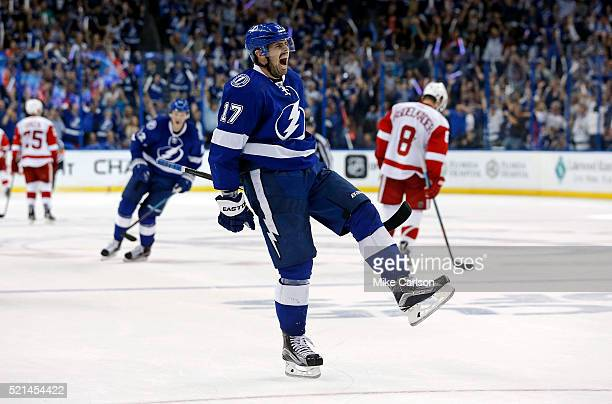 Alex Killorn of the Tampa Bay Lightning celebrates his goal against the Detroit Red Wings during the third period in Game Two of the Eastern...