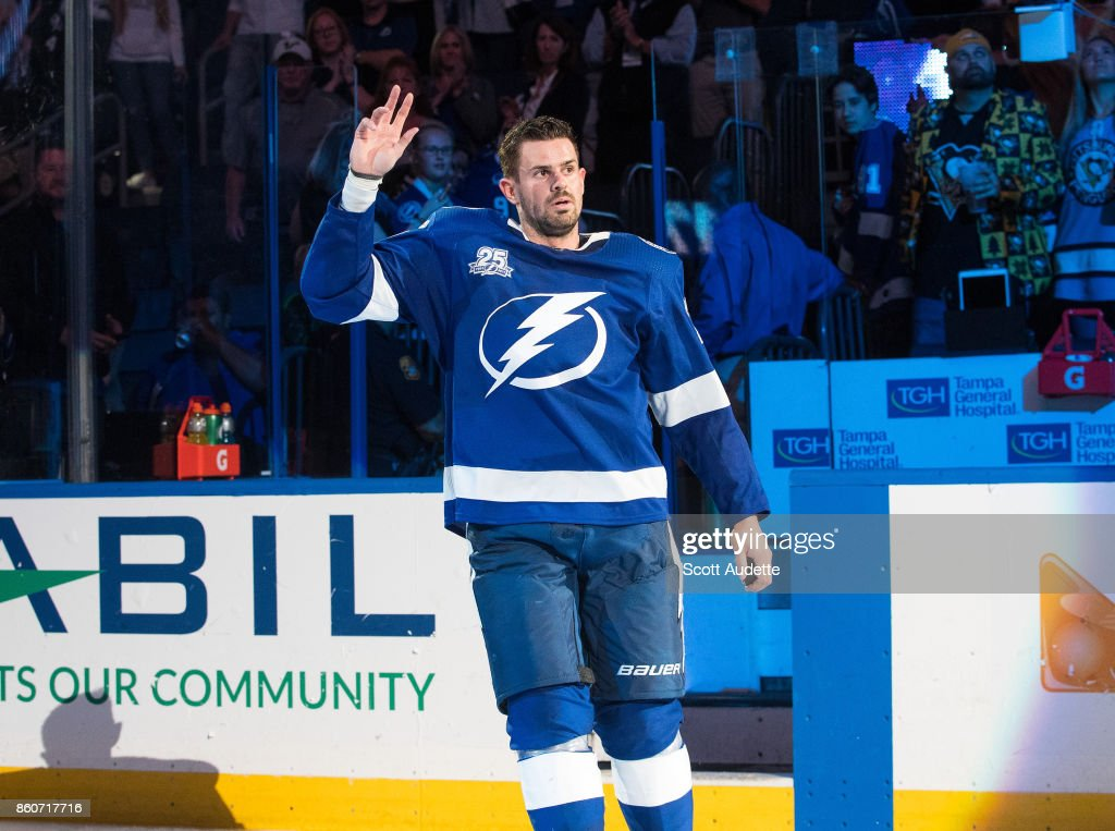 Alex Killorn #17 of the Tampa Bay Lightning celebrates the win against the Pittsburgh Penguins at Amalie Arena on October 12, 2017 in Tampa, Florida.