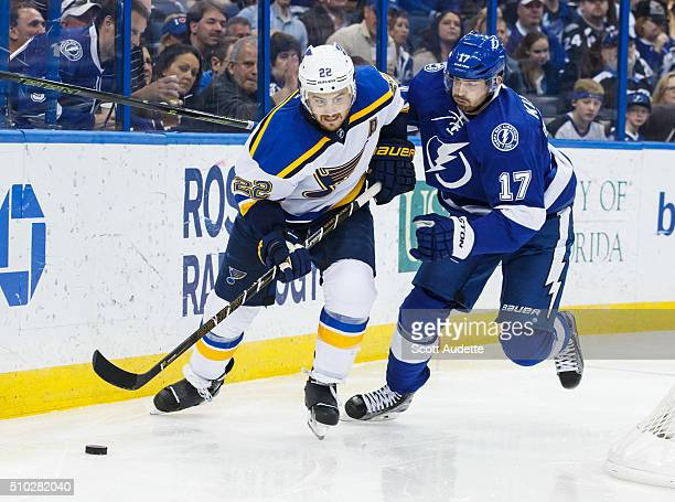 Alex Killorn of the Tampa Bay Lightning chases the puck against Kevin Shattenkirk of the St Louis Blues during the third period at the Amalie Arena...