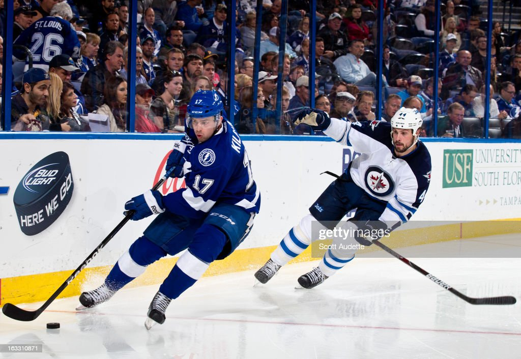 Alex Killorn #17 of the Tampa Bay Lightning controls the puck in front of Zach Bogosian #44 of the Winnipeg Jets during the third period of the game at the Tampa Bay Times Forum on March 7, 2013 in Tampa, Florida.