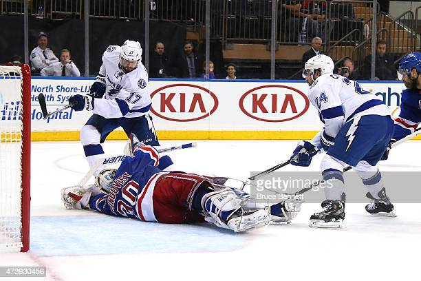 Alex Killorn of the Tampa Bay Lightning score a goal in the third period against Henrik Lundqvist of the New York Rangers during Game Two of the...
