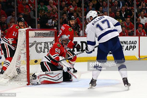 Alex Killorn of the Tampa Bay Lightning scores a goal in the second period against the Chicago Blackhawks during Game Four of the 2015 NHL Stanley...
