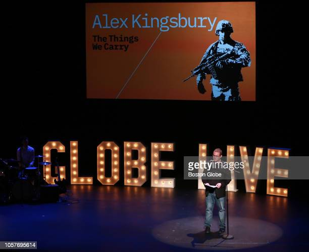 Alex Kingsbury speaks during Globe Live at the Emerson Paramount Theater in Boston on Nov 3 2018 Over 500 people journalists and theatergoers alike...