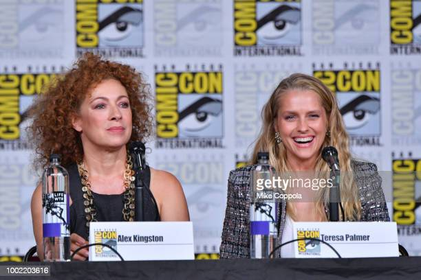 Alex Kingston and Teresa Palmer speak onstage at A Discovery of Witches during ComicCon International 2018 at San Diego Convention Center on July 19...