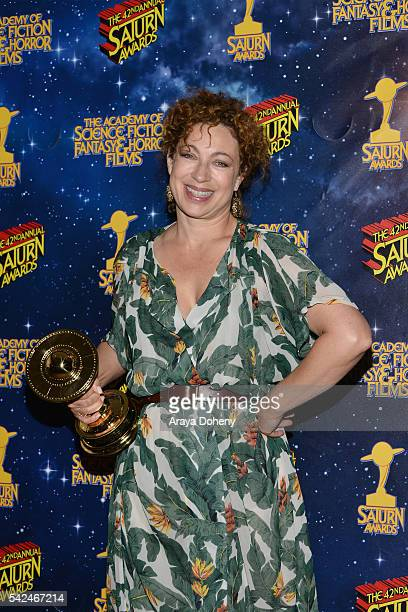 Alex Kingston poses in the pressroom at the 42nd Annual Saturn Awards at the Castaway on June 22 2016 in Burbank California