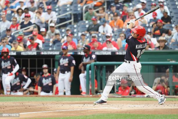 Alex Kirilloff of the Minnesota Twins and the US Team hits a single in the second inning against the World Team during the SiriusXM AllStar Futures...