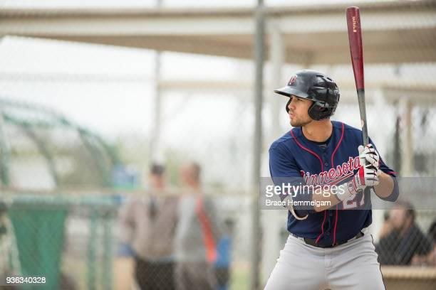 Alex Kirilloff of the Minnesota Twins bats during a minor league workout on March 12 2018 at the CenturyLink Sports Complex in Fort Myers Florida