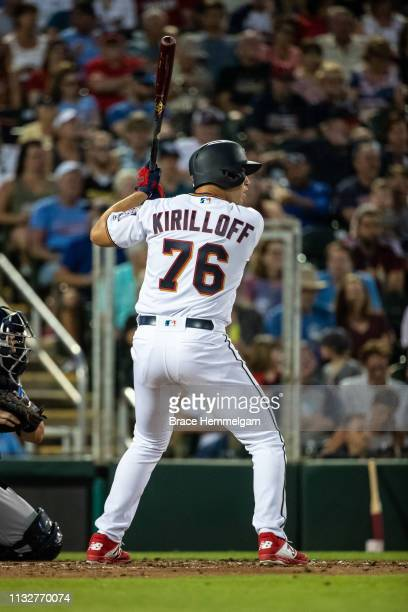 Alex Kirilloff of the Minnesota Twins bats during a spring training game against the Tampa Bay Rays on February 23 2019 at the Hammond Stadium in...