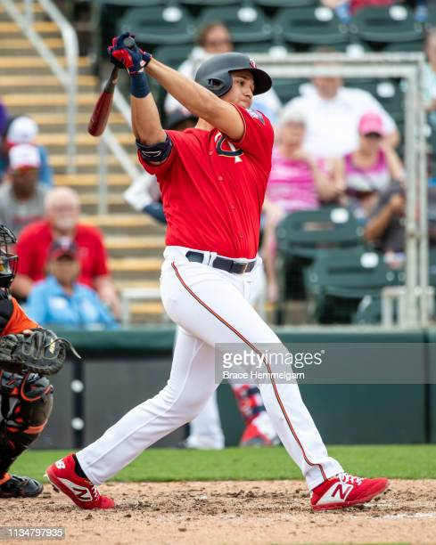 Alex Kirilloff of the Minnesota Twins bats during a spring training game against the Baltimore Orioles on February 24 2019 at Hammond Stadium in Fort...