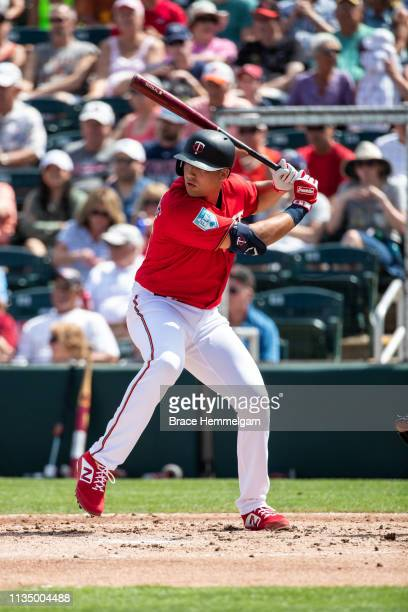 Alex Kirilloff of the Minnesota Twins bats during a spring training game against the Baltimore Orioles on March 4 2019 at Hammond Stadium in Fort...