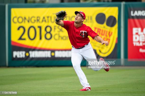 Alex Kirilloff of the Minnesota Twins fields during a spring training game against the Baltimore Orioles on February 24 2019 at Hammond Stadium in...