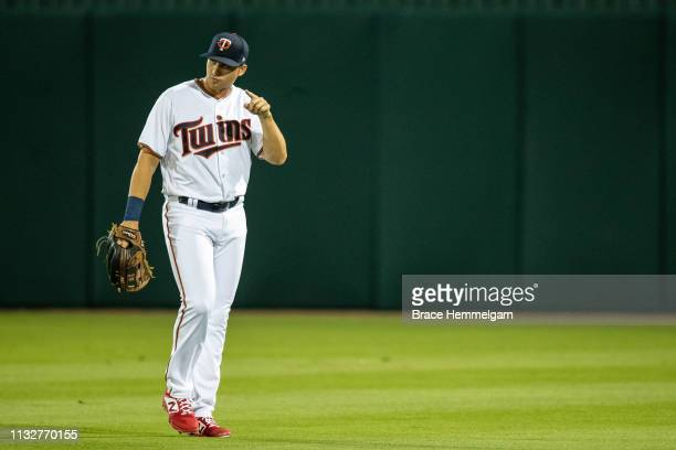 Alex Kirilloff of the Minnesota Twins looks on during a spring training game against the Tampa Bay Rays on February 23 2019 at the Hammond Stadium in...
