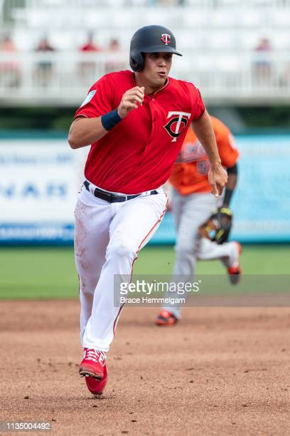 Alex Kirilloff of the Minnesota Twins runs during a spring training game against the Baltimore Orioles on March 4 2019 at Hammond Stadium in Fort...