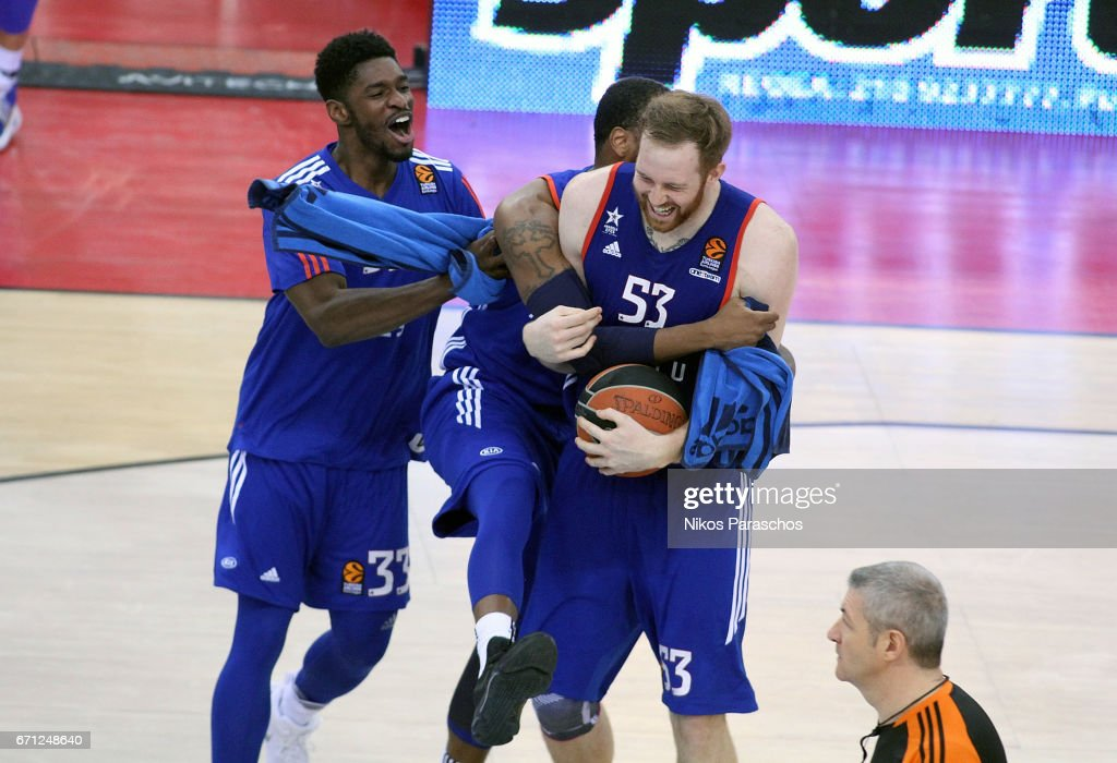 Alex Kirk, #53 of Anadolu Efes Istanbul react after his team winning the match during the 2016/2017 Turkish Airlines EuroLeague Playoffs leg 2 game between Olympiacos Piraeus v Anadolu Efes Istanbul at Peace and Friendship Stadium on April 21, 2017 in Athens, Greece.