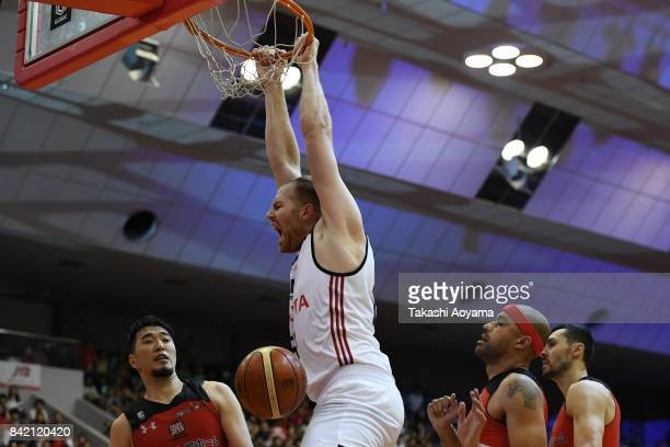 Alex Kirk of the Alvark Tokyo dunks during the B.League Kanto Early Cup final between Alvark Tokyo and Chiba Jets at Funabashi Arena on September 3,...