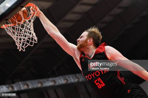 Alex Kirk of the Alvark Tokyo dunks during the BLeague match between Alverk Tokyo and Kawasaki Brave Thunders at the Arena Tachikawa Tachihi on...