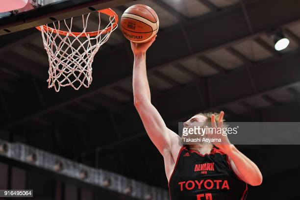 Alex Kirk of the Alvark Tokyo goes up for a dunk during the BLeague match between Alverk Tokyo and Kawasaki Brave Thunders at the Arena Tachikawa...
