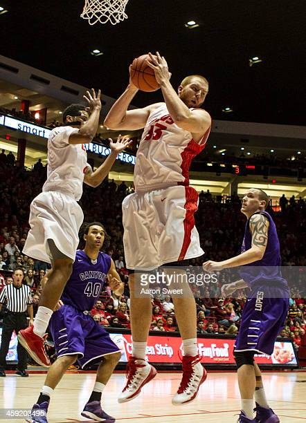 Alex Kirk of the New Mexico Lobos gets the rebound during the game against Grand Canyon Antelopes at The Pit on December 23 2013 in Albuquerque New...