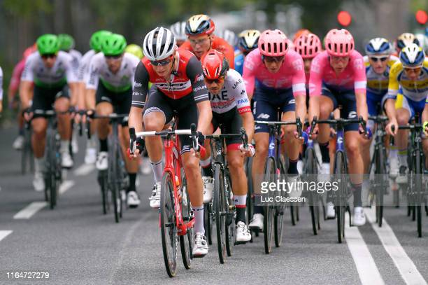 Alex Kirsch of Luxembourg and Team Trek-Segafredo / Roberto Ferrari of Italy and UAE Team Emirates / Marcel Sieberg of Germany and Team...