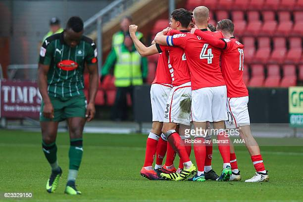 Alex Kiwomya of Crewe Alexandra scores a goal to make it 10 during the Sky Bet League Two match between Crewe Alexandra v Plymouth Argyle at The...