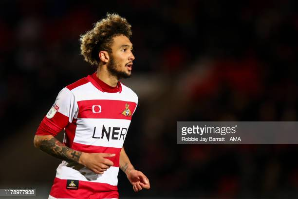 Alex Kiwomya of Doncaster Rovers during the Leasingcom Trophy match fixture between Doncaster Rovers and Manchester United U21's at Keepmoat Stadium...