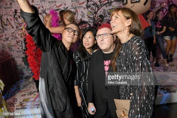 Alex Koo a guest Alber Elbaz and Julie Gilhart attend the Alber Elbaz X LeSportsac New York Fashion Week Party at Gallery I at Spring Studios on...