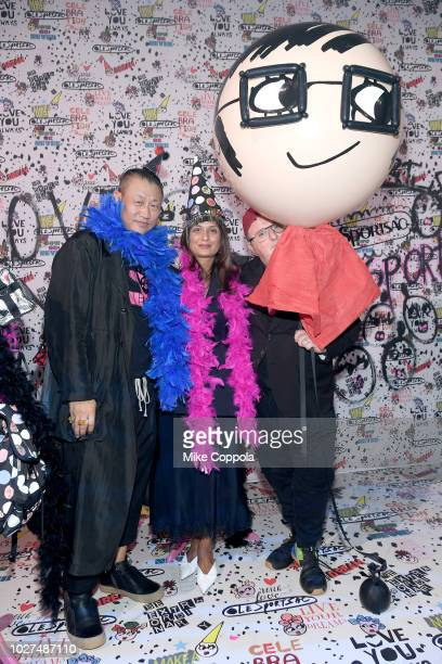 Alex Koo Roopal Patel and Alber Elbez attend the Alber Elbaz X LeSportsac New York Fashion Week Party at Gallery I at Spring Studios on September 5...