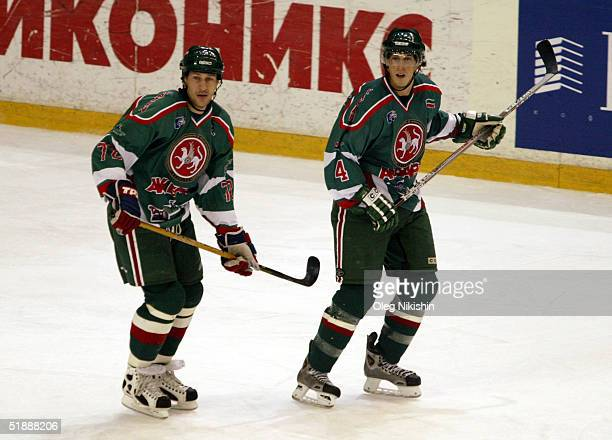 Alex Kovalev and Vincent Lecavalier of Ak-Bars Kazan in action against CSKA Moscow December 22, 2004 at CSKA Ice Arena in Moscow, Russia. Ak-Bars...