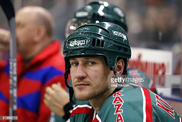 Alex Kovalev of AkBars Kazan sits on the bench during a game against CSKA Moscow December 22 2004 at CSKA Ice Arena in Moscow Russia AkBars Kazan...
