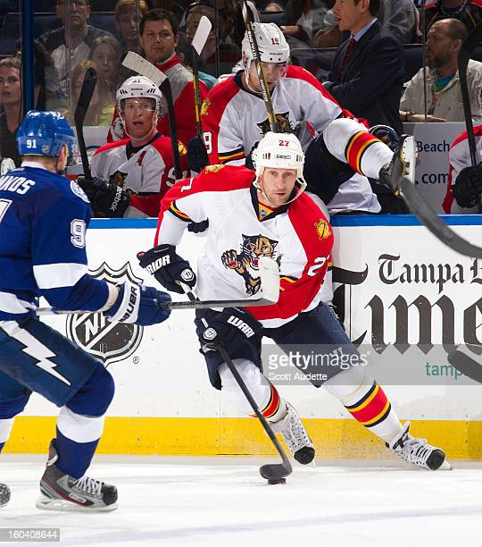Alex Kovalev of the Florida Panthers against the Tampa Bay Lightning at the Tampa Bay Times Forum on January 29 2013 in Tampa Florida