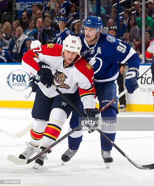 Alex Kovalev of the Florida Panthers and Steven Stamkos of the Tampa Bay Lightning at the Tampa Bay Times Forum on January 29 2013 in Tampa Florida